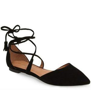Halogen Black Suede Oliver Ankle Wrap Flat, Sz 8.5